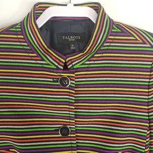 Talbots Striped Multicolor Button Up Jacket Blazer